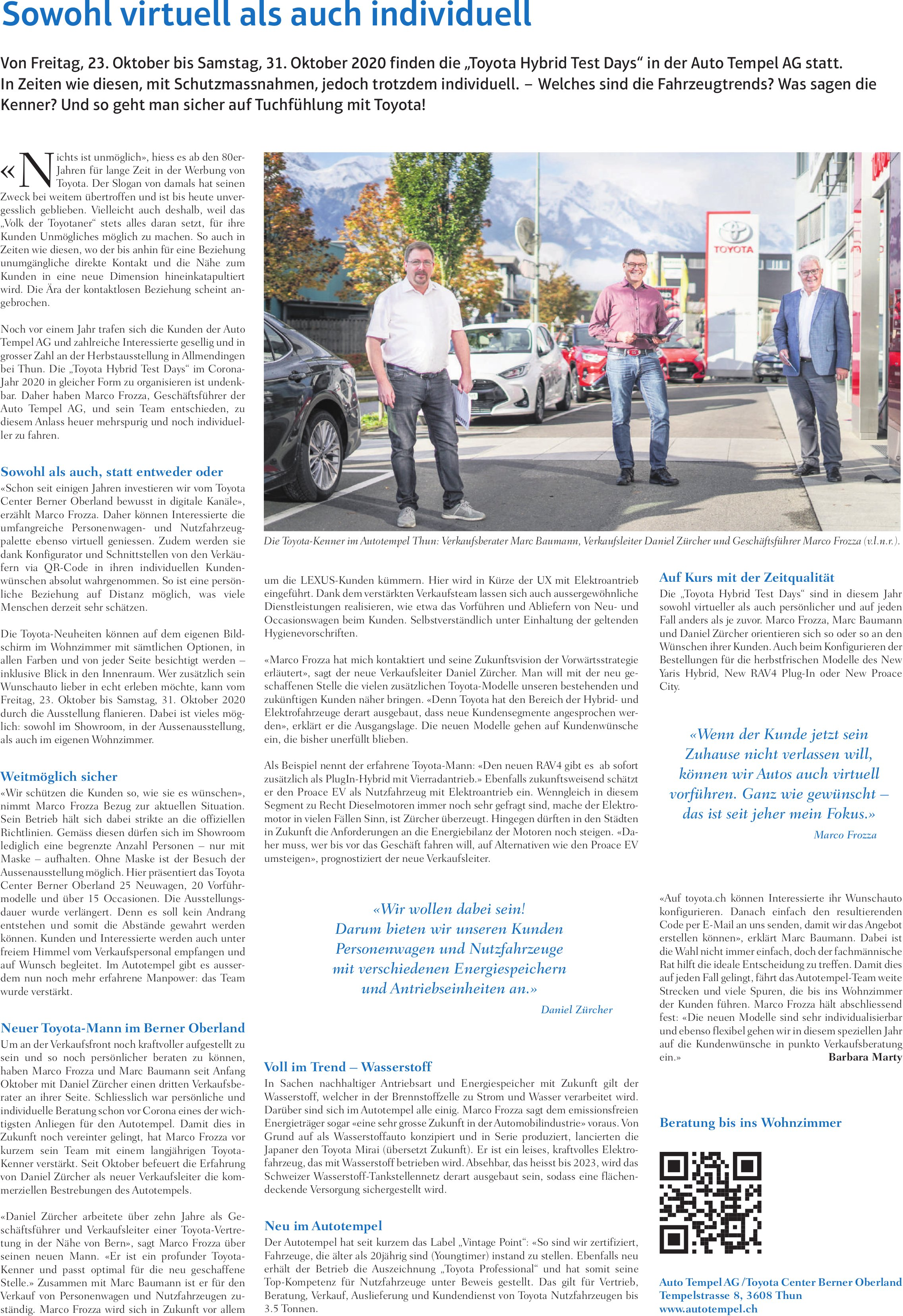 Autotempel AG, Thun - Sowohl virtuell als auch individuell