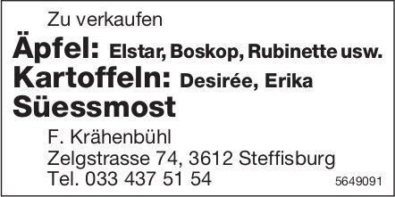 F. Krähenbühl, Steffisburg - Äpfel, Kartoffeln, Süessmost zu verkaufen