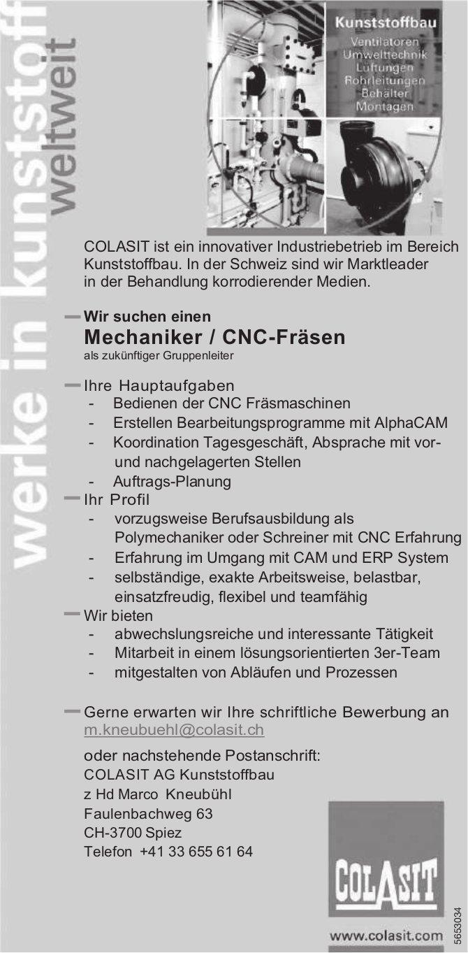 Mechaniker / CNC-Fräsen, COLASIT AG, Spiez, gesucht