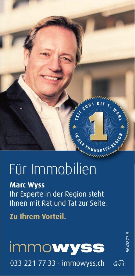 Immowyss - Für Immobilien, Marc Wyss steht Ihnen mit Rat und Tat zur Seite.