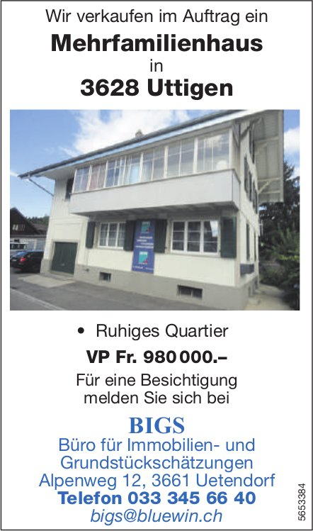 Mehrfamilienhaus, Uttigen, zu verkaufen