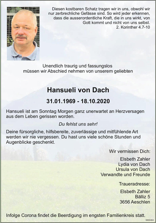 von Dach Hansueli, Oktober 2020 / TA