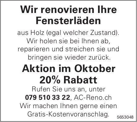 AC Reno - Wir renovieren Ihre Fensterläden, Aktion im Oktober 20% Rabatt