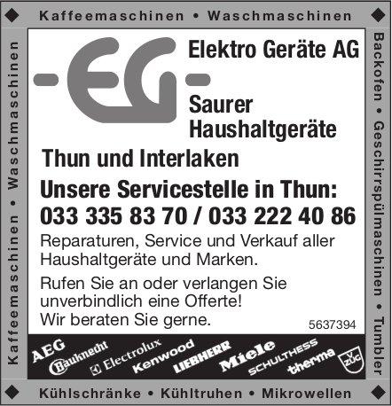 Elektro Geräte AG, Thun & Interlaken - Saurer Haushaltgeräte