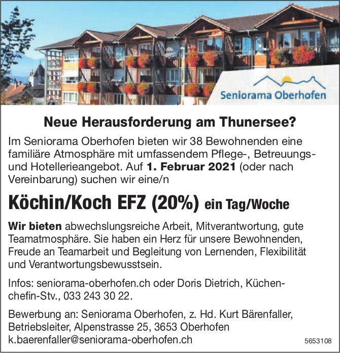 Köchin/Koch EFZ (20%), Seniorama Oberhofen, gesucht