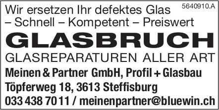 Meinen&Partner GmbH, Profil+Glasbau, Steffisburg - Glasbruch: Glasreparaturen aller ART