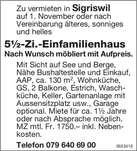 5½-Zi.-Einfamilienhaus, Sigriswil, zu vermieten