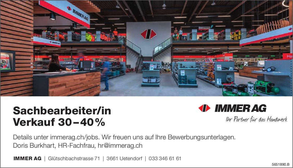 Sachbearbeiter/in Verkauf 30 – 40%, Immer AG, Uetendorf, gesucht