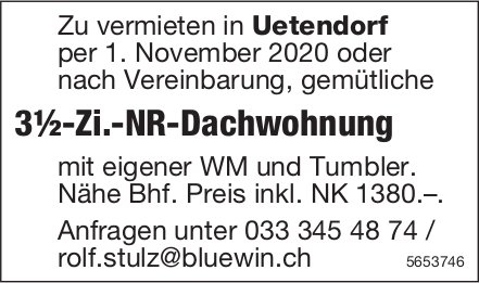 3½-Zi.-NR-Dachwohnung, Uetendorf, zu vermieten
