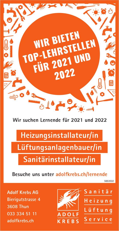 Lehrstellen, Heizungsinstallateur/in, Lüftungsanlagenbauer/in,  Sanitärinstallateur/in, Adolf Krebs AG, Thun, gesucht