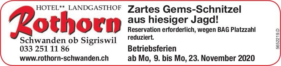Landgasthof Rothorn, Schwanden ob Sigriswil - Zartes Gems-Schnitzel aus hiesiger Jagd!