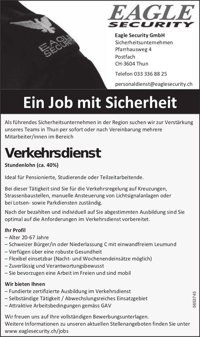 Mitarbeiter/innen Verkehrsdienst, Eagle Security GmbH, Thun, gesucht