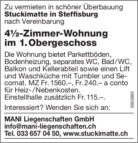 4½-Zimmer-Wohnung im 1. Obergeschoss, Steffisburg, zu vermieten