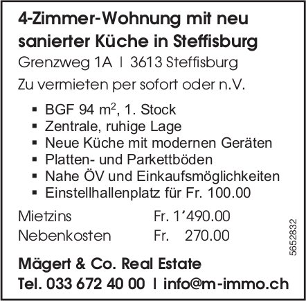 4 Zimmer-Wohnung mit neu sanierter Küche, Steffisburg, zu vermieten
