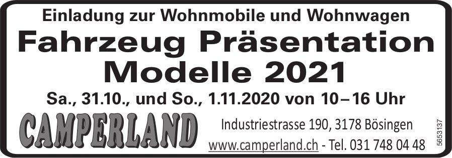 Camperland -  Fahrzeug Präsentation Modelle 2021, 31. Oktober ind 1. November, Bösingen