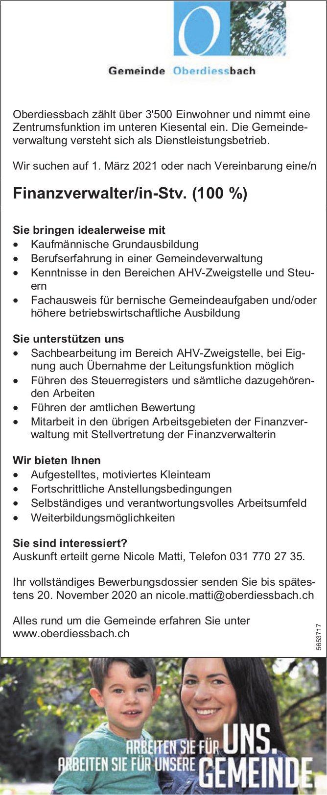 Finanzverwalter/in-Stv. (100%), Gemeinde, Oberdiessbach, gesucht