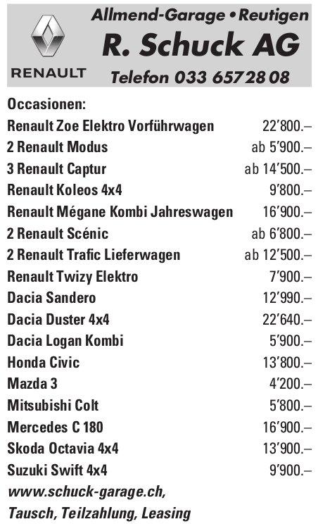 R. Schuck AG Allmend-Garage - Occasionenmarkt