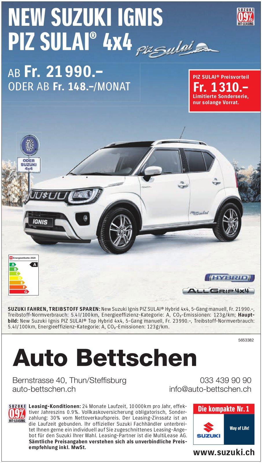 Auto Bettschen, Thun/Steffisburg - New SUZUKI IGNIS PIZ SULAI 4x4