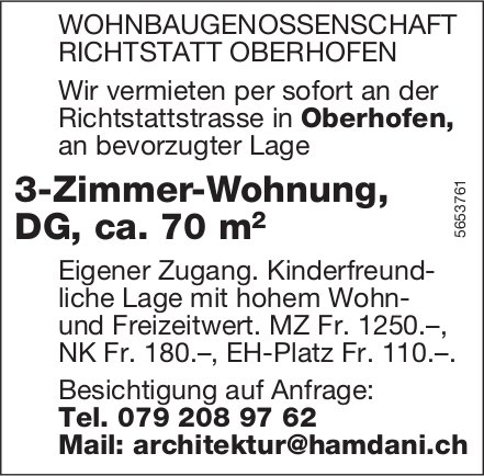 3-Zimmer-Wohnung, DG,  ca. 70 m, Oberhofen, zu vermieten