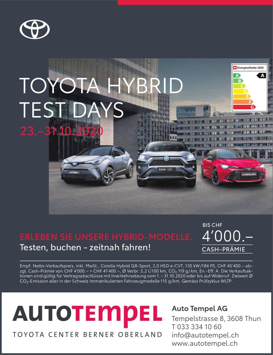 Toyota Hybrid Test Days, 23.-31. Oktober, Thun, Auto Tempel AG