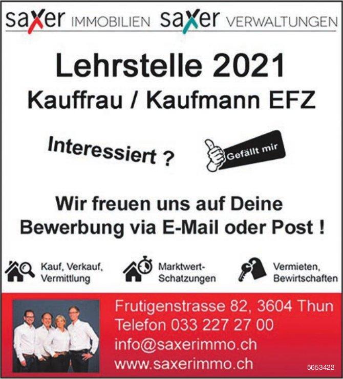 Lehrstelle 2021 Kauffrau/Kaufmann EFZ, Saxer Immobilien & Verwaltungen, Thun, zu vergeben