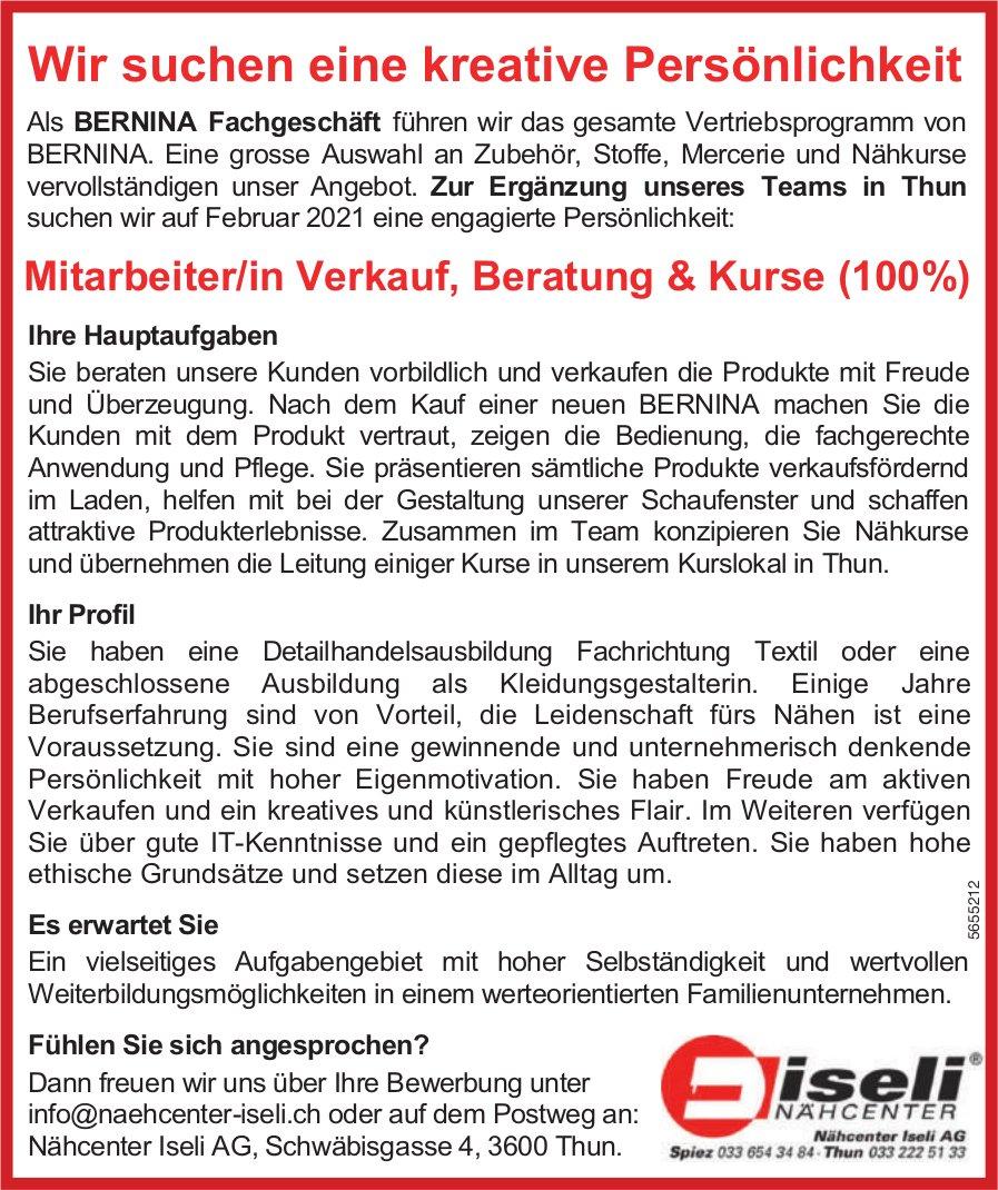 Mitarbeiter/in Verkauf, Beratung & Kurse (100%), Nähcenter Iseli AG, Thun,  gesucht