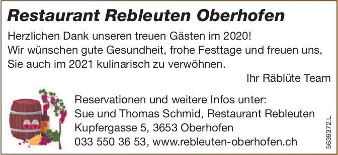 Restaurant Rebleuten, Oberhofen - Herzlichen Dank unseren treuen Gästen im 2020!