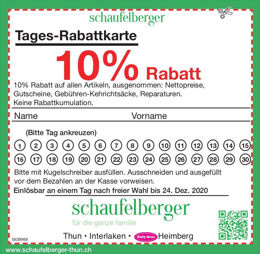 Schaufelberger, Thun, Interlaken & Heimberg - Tages-Rabattkarte, 10% Rabatt
