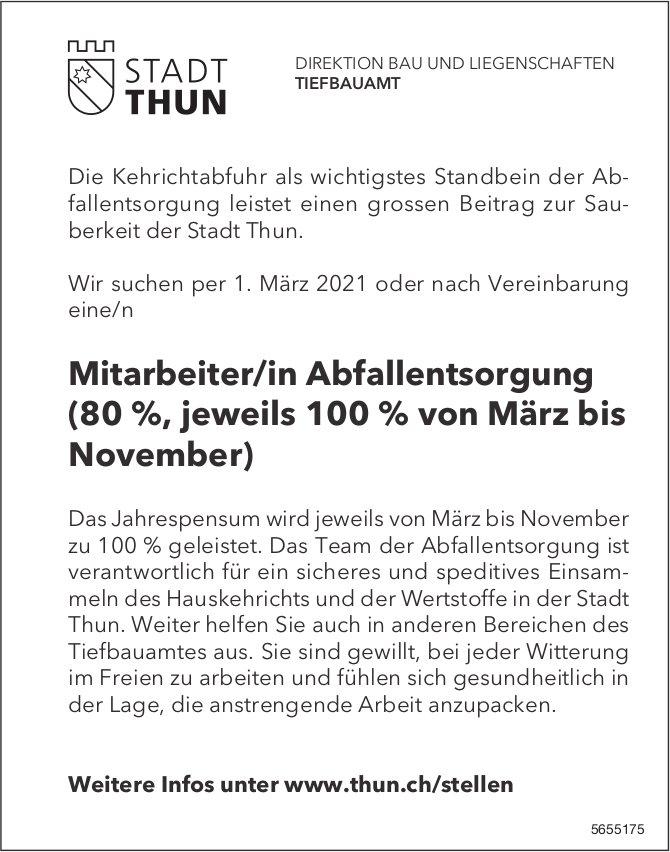 Mitarbeiter/in Abfallentsorgung (80 %, jeweils 100 % von März bis November), Stadt Thun, gesucht