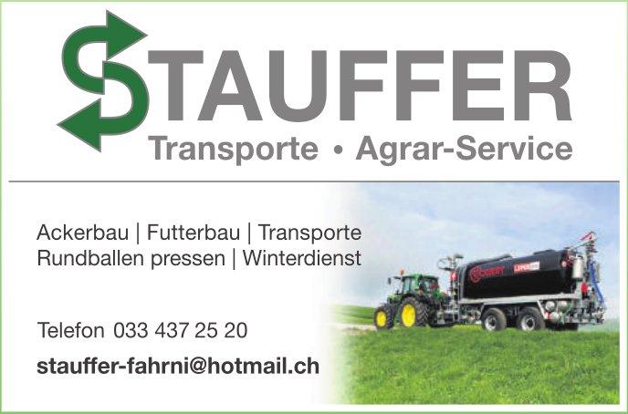 Stauffer Transporte & Agrar-Service, Fahrni - Ackerbau, Futterbau, Transporte, Rundballen pressen, Winterdienst