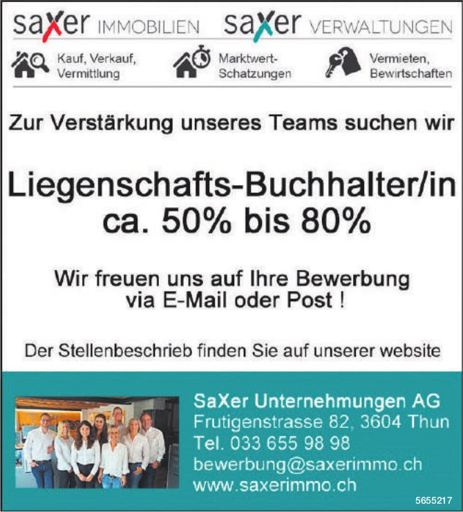 Liegenschafts-Buchhalter/in ca. 50% bis 80%, SaXer Unternehmungen AG, Thun, gesucht