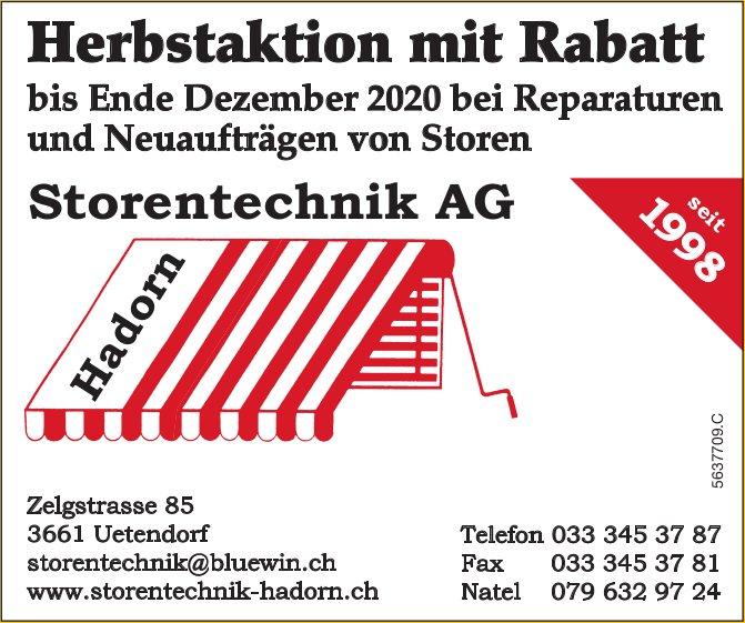 Storentechnik AG, Uetendorf - Herbstaktion mit Rabatt bis Ende Dezember 2020 bei Reparaturen und Neuaufträgen von Storen