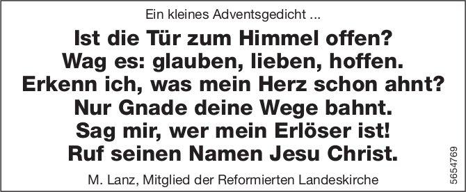 M. Lanz, Mitglied der Reformierten Landeskirche - Ein kleines Adventsgedicht ...