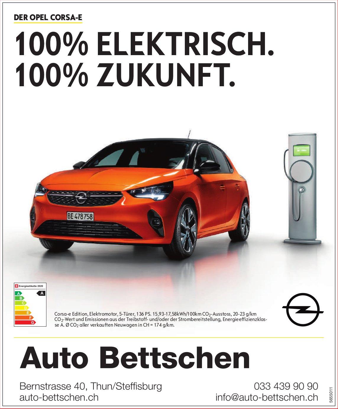 Auto Bettschen - Der Opel Corsa-E: 100% Elektrisch. 100% Zukunft.