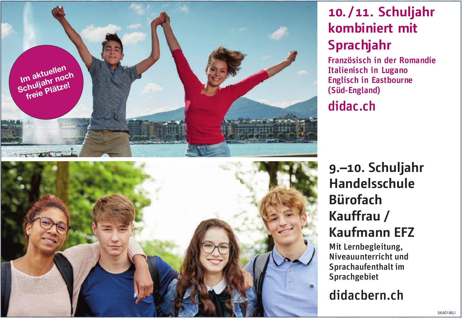 Didac, Bern - 10. / 11. Schuljahr kombiniert mit Sprachjahr / 9.–10. Schuljahr Handelsschule Bürofach Kauffrau/Kaufmann EFZ