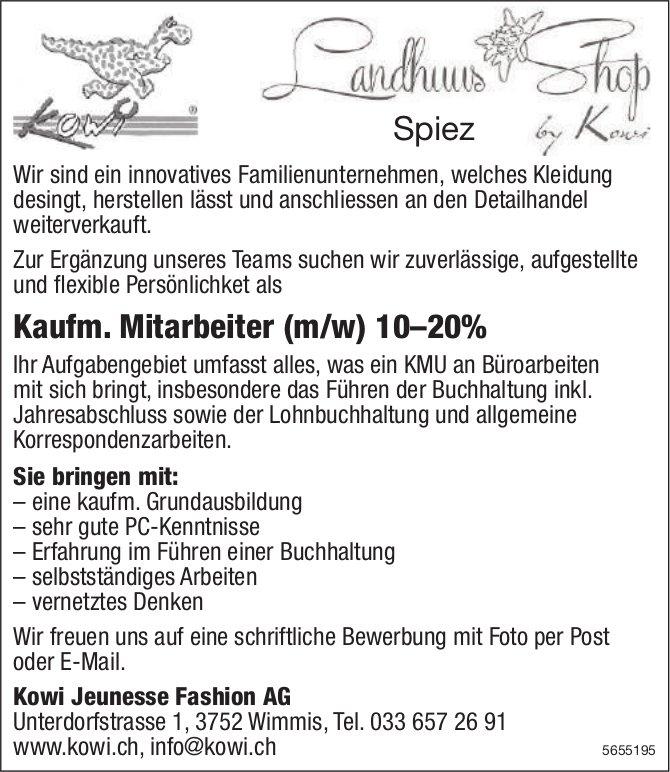 Kaufm. Mitarbeiter (m/w) 10–20%, Kowi Jeunesse Fashion AG, Wimmis, gesucht