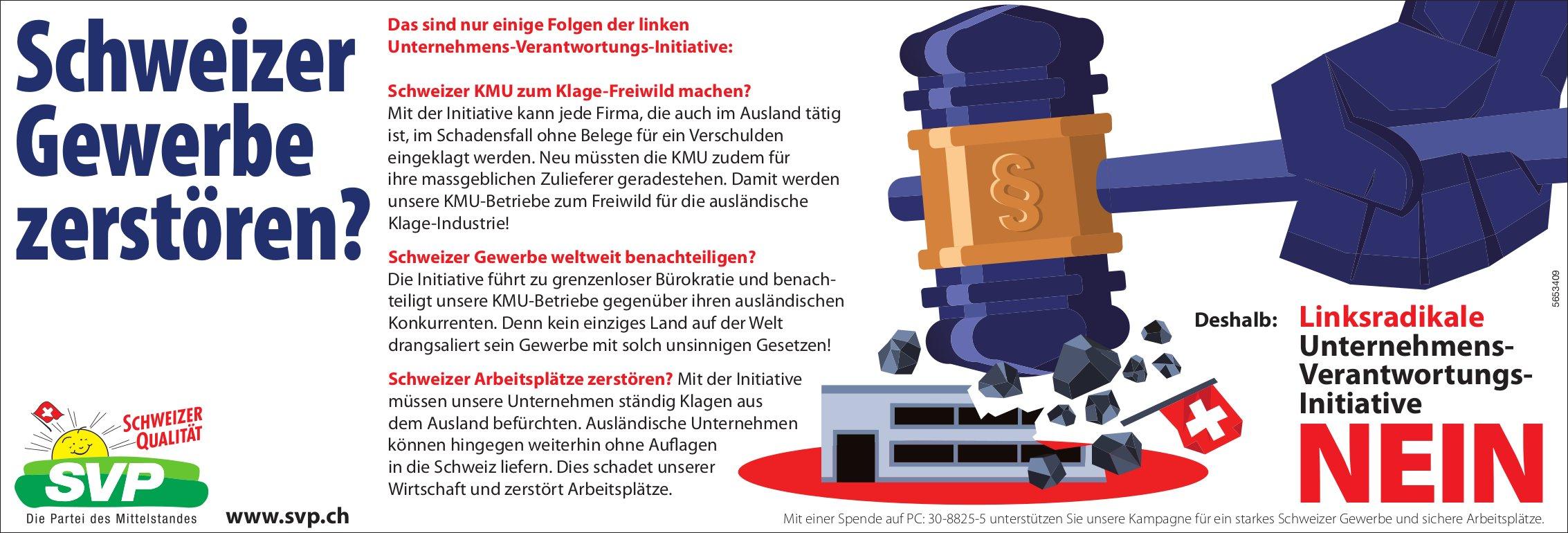 SVP - Linksradikale Unternehmens-Verantwortungs-Initiative Nein