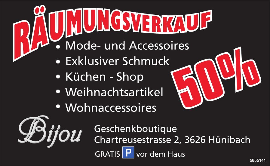 Bijou Geschenkboutique, Hünibach - Räumungsverkauf 50%