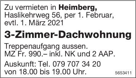 3-Zimmer-Dachwohnung, Heimberg, zu vermieten