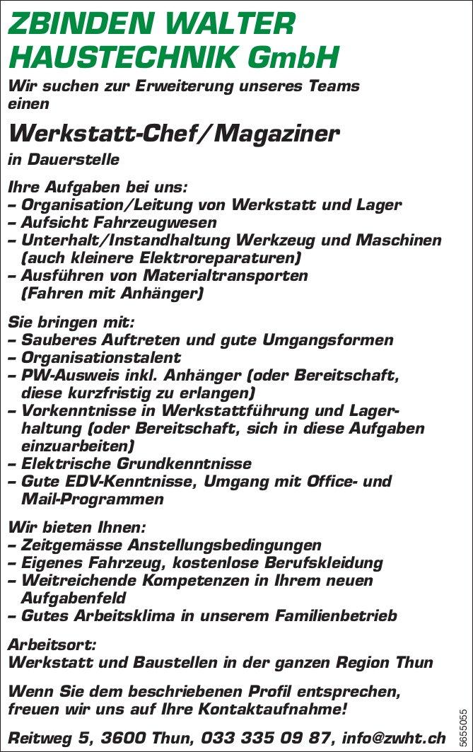 Werkstatt-Chef/Magaziner, Zbinden Walter Haustechnik GmbH, Thun, gesucht