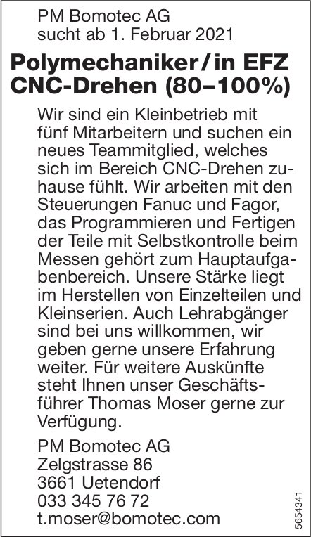 Polymechaniker / in EFZ CNC-Drehen (80–100%), PM Bomotec AG, Uetendorf, gesucht