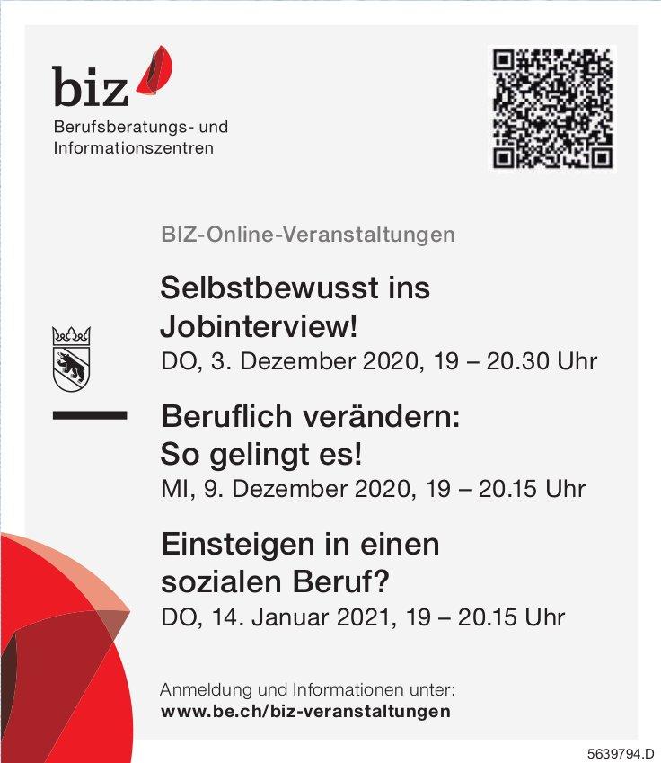 BIZ-Online-Veranstaltungen, 3., 9. Dezember und 14. Januar