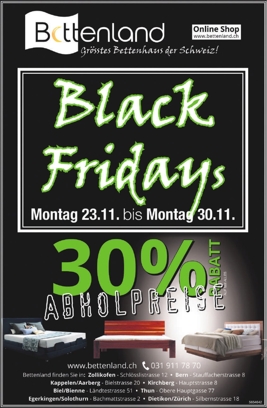 Black Friday, 30% Rabatt, 23. - 30. November, Bettenland