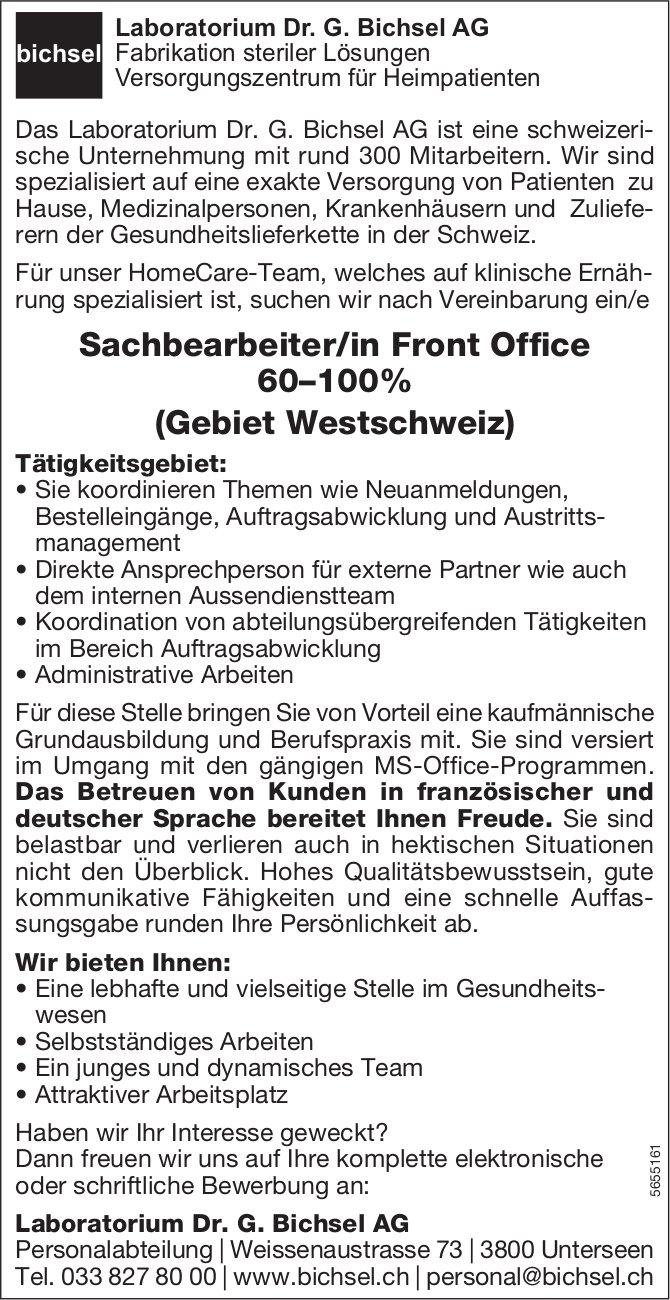 Sachbearbeiter/in Front Office 60–100% (Gebiet Westschweiz), Laboratorium Dr. G. Bichsel AG, Unterseen, gesucht