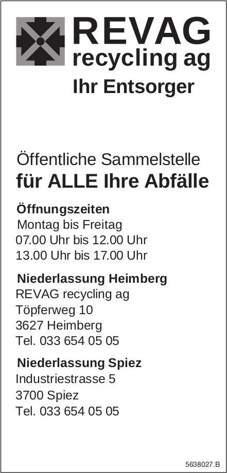 REVAG Recycling AG,  Heimberg-Öffentliche Sammelstelle für ALLE Ihre Abfälle