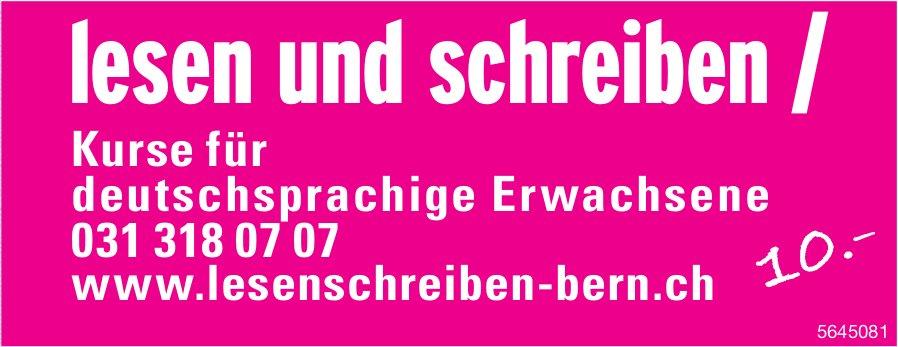 Lesen und schreiben, Bern - Kurse für deutschsprachige Erwachsene