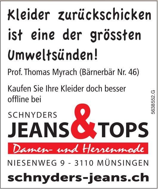Schnyders Jeans, Münsingen - Kleider zurückschicken ist eine der grössten Umweltsünden!