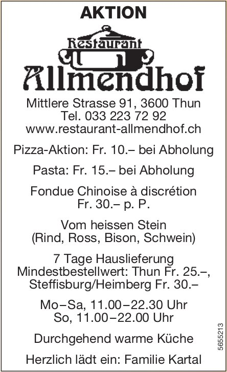 RESTAURANT Allmendhof, Thun - Pizza-Aktion, Pasta, Fondue Chinoise à discrétion