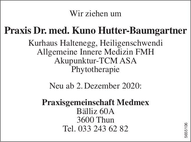 Wir ziehen um ab 2. Dezember, Thun - Praxis Dr. med. Kuno Hutter-Baumgartner