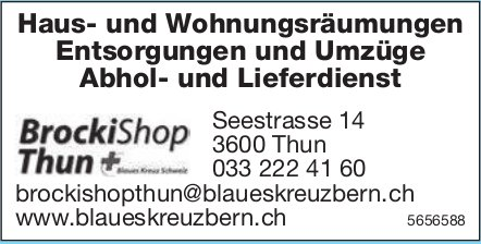 Brocki Shop, Thun - Haus- und Wohnungsräumungen Entsorgungen und Umzüge Abhol- und Lieferdienst